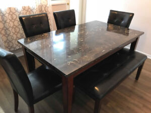 Marble Dining Set 6 Piece with Bench