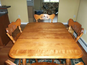 Solid hardwood / maple table and 6 chairs