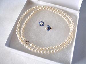 SET- Chalcedony & Pearl 'Flowers' Earrings & Strand of Pearls