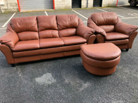 Brown Leather 3 Seater Sofa, Chair and Footstool