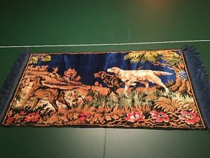 Vtg TAPESTRY WALL HANGING-RUGS~ HUNTING CAMP~DOGS