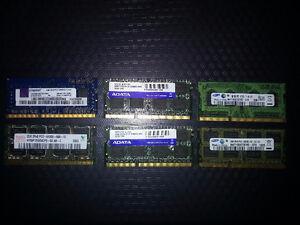 Mémoire RAM pour laptop 2GB 20$ chaque