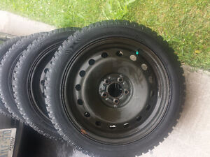 FORD MUSTANG HANKOOK WINTER TIRES 245/45/18 ON FORD STEEL RIMS