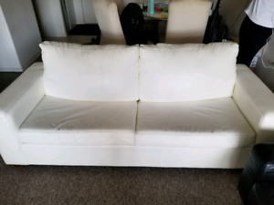 3 seater white faux leather sofa/ couch bed