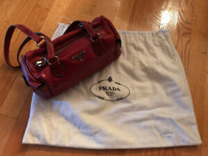 Authentic PRADA Purse Bag Classic RED Leather Vintage