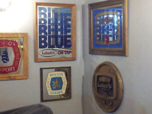 Classic domestic mirrored beer signs