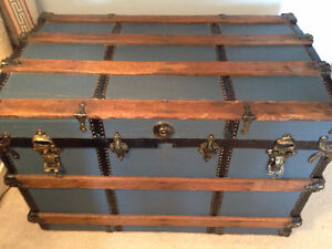 Antique Flat top Steamer TRUNK Chest
