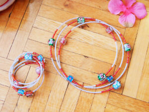 European Collar Necklace & Bangle set with Flower Crystal Beads