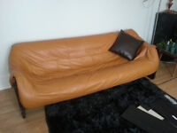 VINTAGE WOOD & LEATHER HANDCRAFTED COUCH