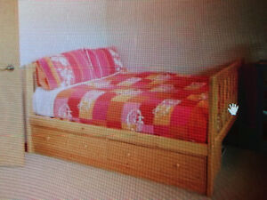 solid pine double bed with mattress and storage drawers