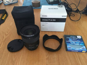 SIGMA 24MM F1.4 DG HSM (ART) NIKON + 77mm protective lens cover