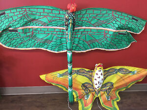 2 Handcrafted and Hand Painted Kites