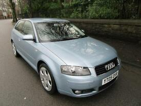 2005 '05' AUDI A3 2.0 TDI 140 SPORT 3 DOOR HATCH IN MET BLUE 112,000 F,S,H,