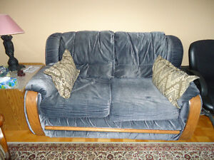 Blue couch and loveseat set