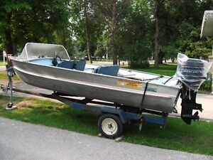 16 1/2 ft Aluminum boat with motor