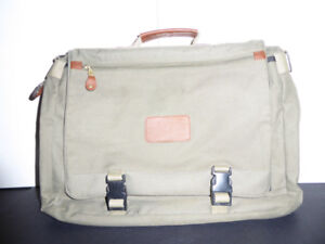 OLIVE GREEN BRIEFCASE OR BOOKCASE WITH LEATHER ACCENTS - MINT