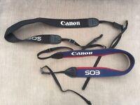 Two Canon EOS camera straps