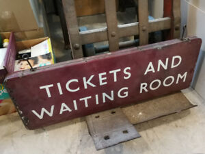 """British Railway """"Tickets and Waiting Room"""" sign"""
