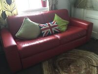 Quality red leather 3 seater sofa-bed