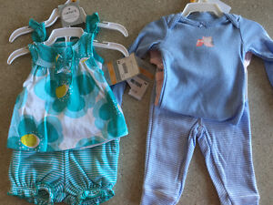 NWT 2 x 3 piece Carter's newborn outfits