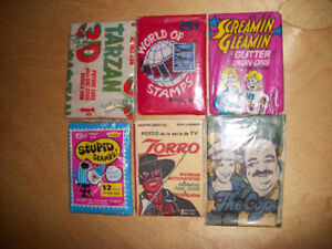 6 Various Vintage Unopened Wax Packs of Collectible Cards