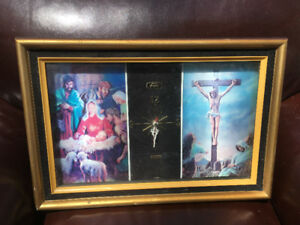 Large Vintage Clock Religious Themes Jesus