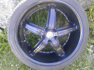 2 dub rims and tires size 265 35R22 102V 22inch diameter