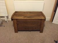 A beautiful antique rustic pine blanket box
