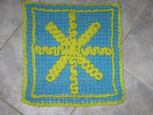 .A Colourful Hand-Crafted Crocheted CUSHION COVER..