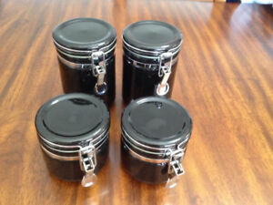 Set of 4 Black Glass Canisters