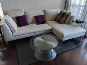 Modern 2 Section white sofa chaise lounge