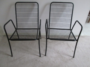 Mid Century metal tube & wire stacking chairs