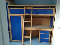 Kids cabin bed, wardrobe and drawers