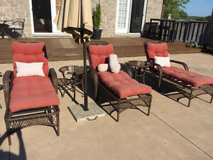 """3"" Loungers w/cushions and side tables"