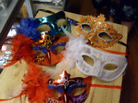 Masquerade masks, just in time for Halloween. Accessories too.