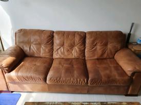 Beautiful rustic tan leather extra large sofa RRP £995