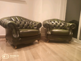 Chesterfield Thomas Llyod Regency Armchairs Antique Green