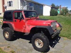 """1993 Jeep Wrangler YJ V8, Spring Over Axle 35"""" tires"""