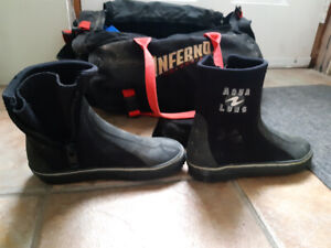 Scuba diving boots, weights and belts