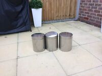 3x small stainless steel bins with swing lids