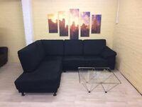 Black Fabric Corner Sofa