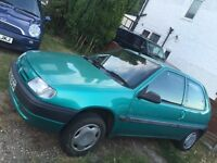 Caplypso green Saxo 1.1 £395 ono, Brand new MOT today, ideal first car (picture to follow)
