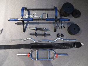 Powergym, weightlifting bars, weights