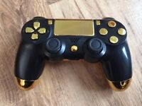 FOR SALE IS A NEW GOLD CUSTOM PS4 CONTROLLER WITH GOLD BUTTONS AND DIRECTION PAD.
