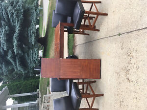 Bar Height table and chairs with leaf