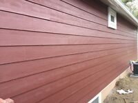 Hardie board siding (country lane red)