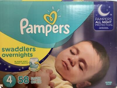 Pampers Swaddlers Overnight Baby Diapers Size 4, Count 58