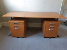 Ikea desk with 2 drawer units