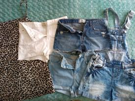 Women's clothing bundle, dress, dungarees, denim shorts size 8