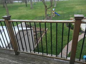Wood deck/fence railings w/ faux wrought iron spindles